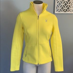 Bright yellow Spyder core sweater size medium